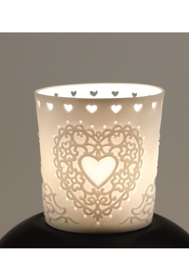 Dünya Style Kalp Desenli Porselen Bardakta Tealight Mumluk Renkli